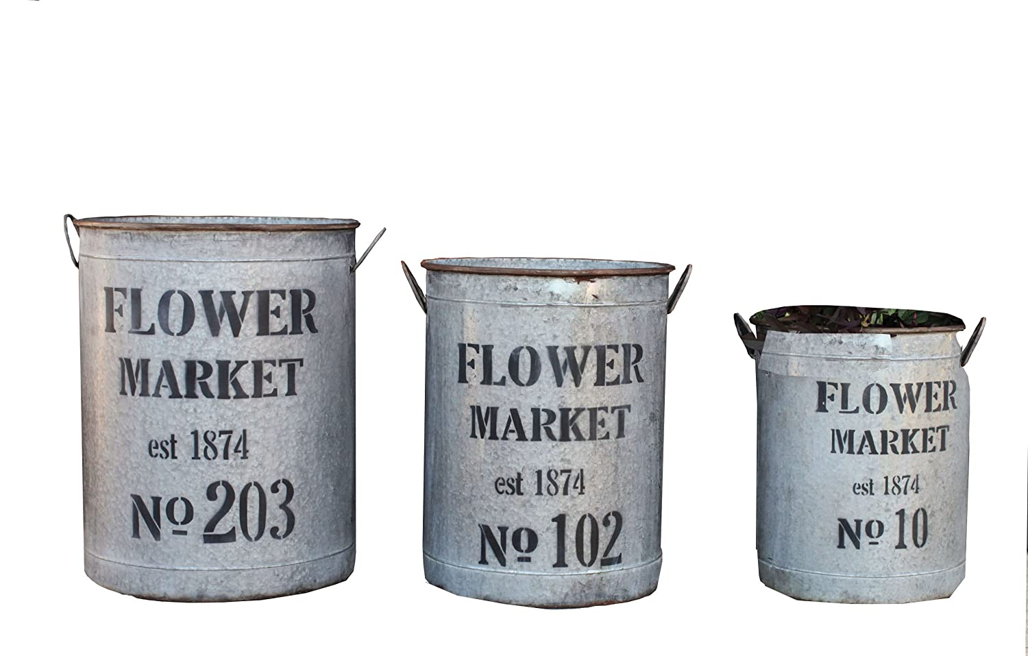 Galvanized French Buckets - flower market 3 pc round bucket