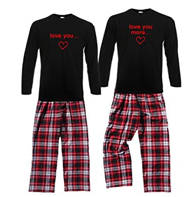9e1efe618b Footsteps Clothing Love You Shirt Pant Pajamas Set - Adult Small, Black L/S