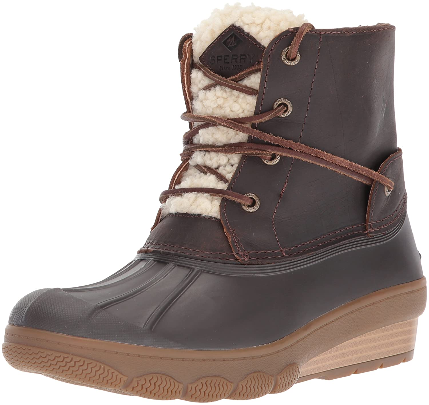Sperry Top-Sider Women's Saltwater Wedge Tide Fur Rain Boot B01N7KAMPG 6.5 B(M) US|Brown