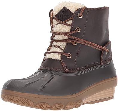 7d61716a46d3 Sperry Women s Saltwater Wedge Tide Fur Rain Boot Brown 5 Medium US