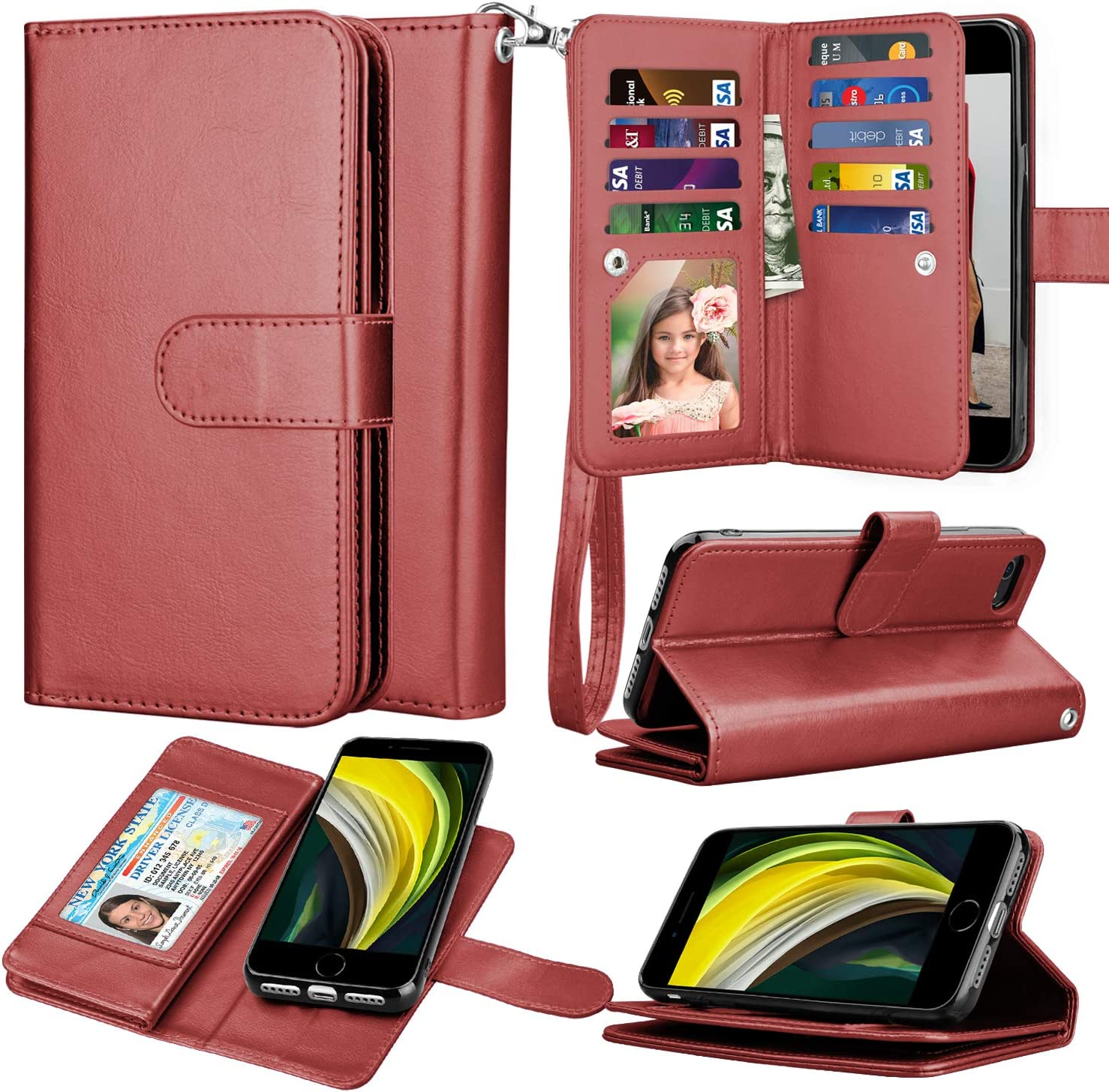 Takfox Wallet Case for iPhone SE 2020/SE2, for iPhone 8/iPhone 7 Case, PU Leather ID Credit Card Slots Holder Folio Flip Kickstand Detachable Magnetic Phone Case & Lanyard for iPhone SE 2nd-Wine Red