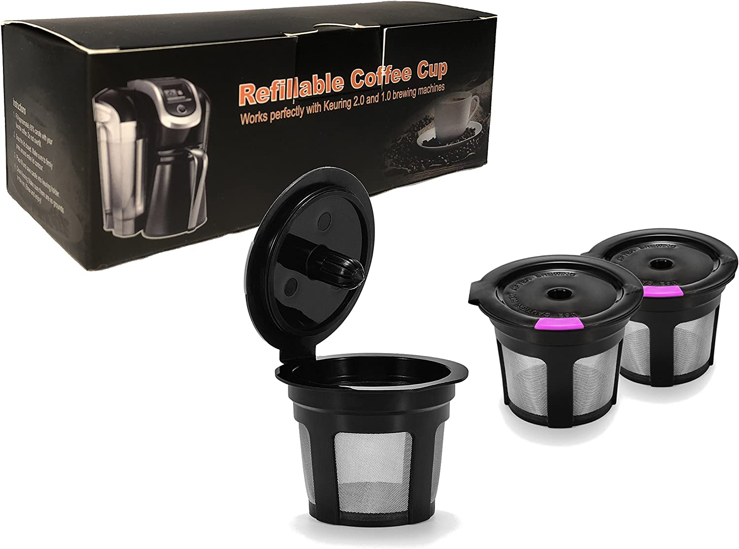 B07FNBRNYN 3 Pack Black & Purple Reusable K Cups For Keurig 2.0 & 1.0 Brewers Universal Fit For Refillable Single Cup Coffee Filters - Eco Friendly Stainless Steel Mesh Filter BPA Free by A&N Direct 81k0kvaUBVL