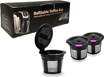 3 Pack Black & Purple Reusable K Cups For Keurig 2.0 & 1.0 Brewers Universal Fit