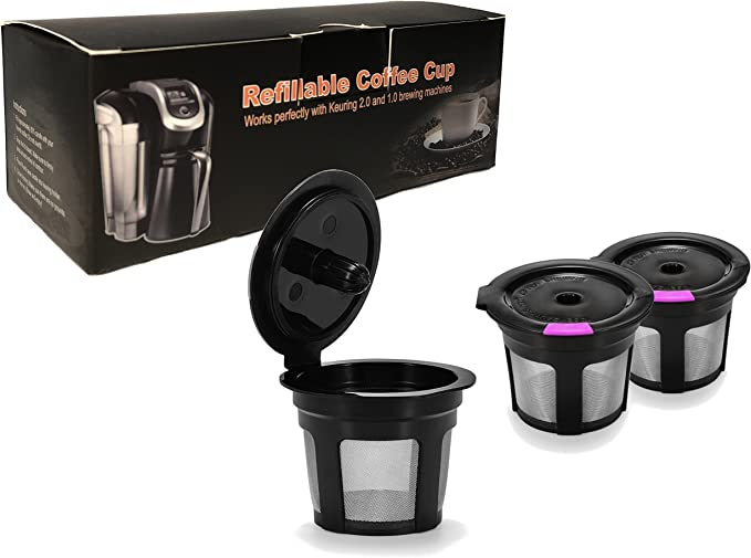 3 Pack Black & Purple Reusable K Cups For Keurig 2.0 & 1.0 Brewers Universal Fit For Refillable Single Cup Coffee Filters - Eco Friendly Stainless Steel Mesh Filter BPA Free by A&N Direct