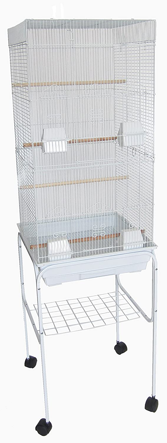 Yml 6824 3/8-Inch Bar Spacing Tall Flat Top Bird Cage with Stand-18-Inch X14-Inch in Black 6824_4814BLK