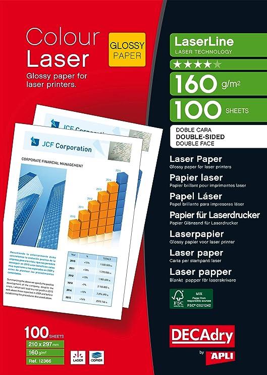 Apli 012366 Pack de 100 hojas de papel fotográfico láser ...