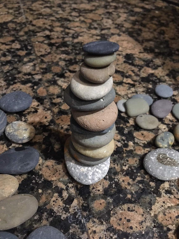 25 Sea Beach Stones - Zen Meditation Yoga Stones, Cairn Balancing Sculpture Mood Stones, Flat Beach Pebble Rock Art