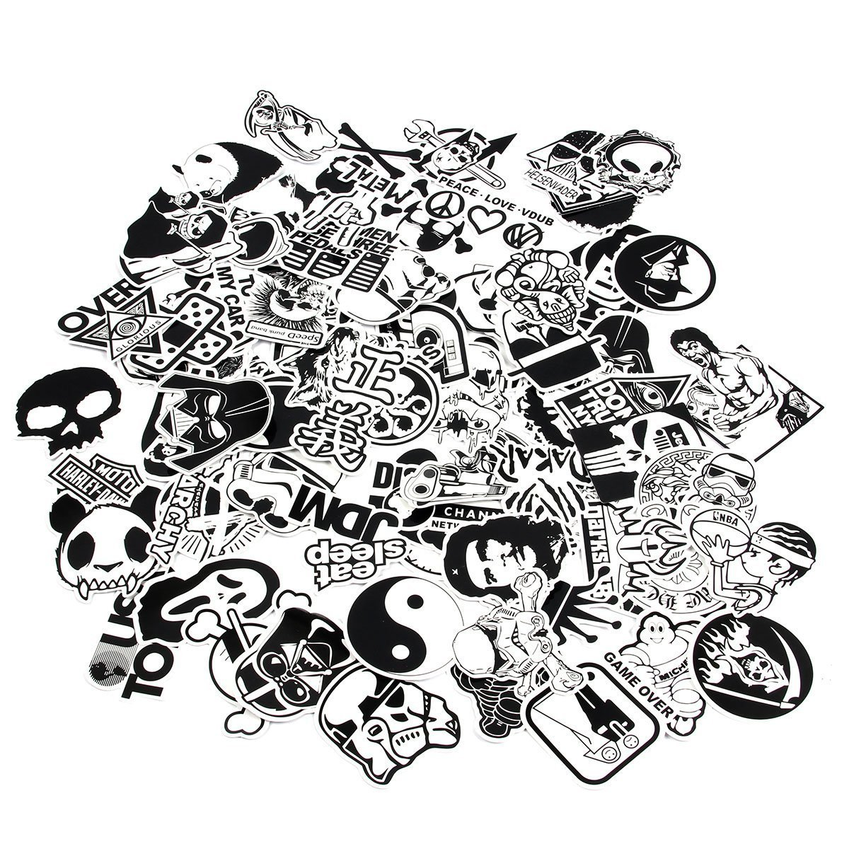 Chnlml laptop stickers black and white 100pcs variety vinyl car sticker motorcycle bicycle luggage decal graffiti patches skateboard cool stickers for