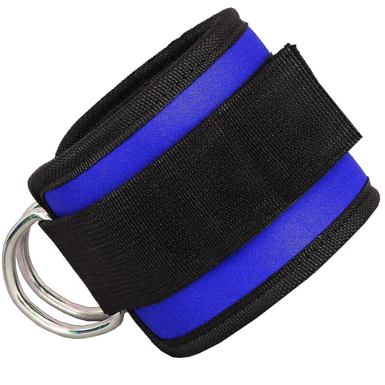 1 par negro correa para mu/ñecas y piernas de peso para fijar m/áquina de cable Grofitness Correas ajustables para los tobillos con doble anilla en D