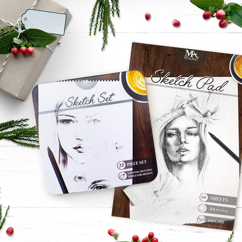 Mozart Supplies Cuaderno de bocetos: 60 hojas liso y grueso para tus suministros de arte: perfecto para dibujar 160 g // m2: papel de dibujo de calidad superior 8,5 x 11 pulgadas estampar