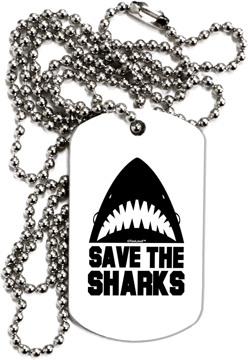 TOOLOUD Save The Sharks Adult Dog Tag Chain Necklace