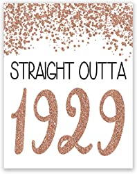 Funny 91st Birthday Poster - Straight Outta 1929 Sign