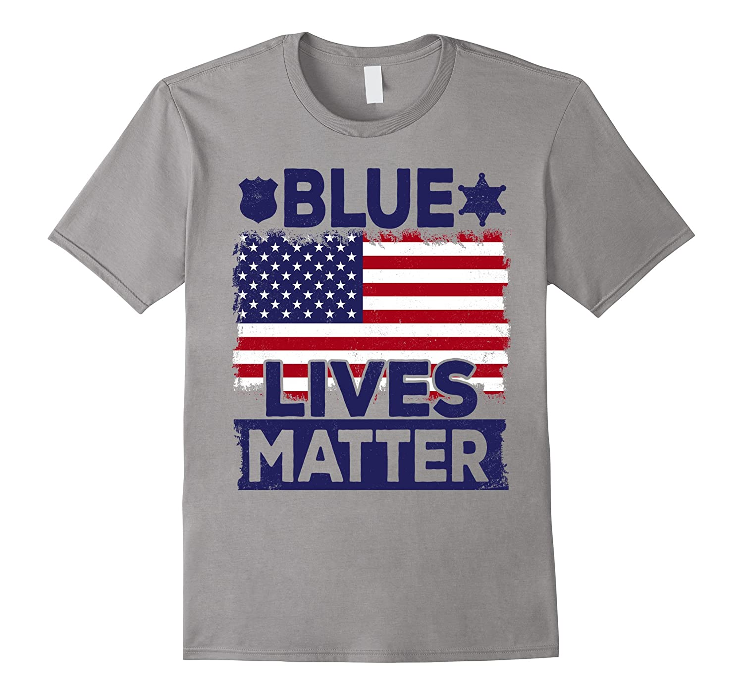 Sheriff Police Cop Support T-Shirt Blue Lives Matter US Flag-RT