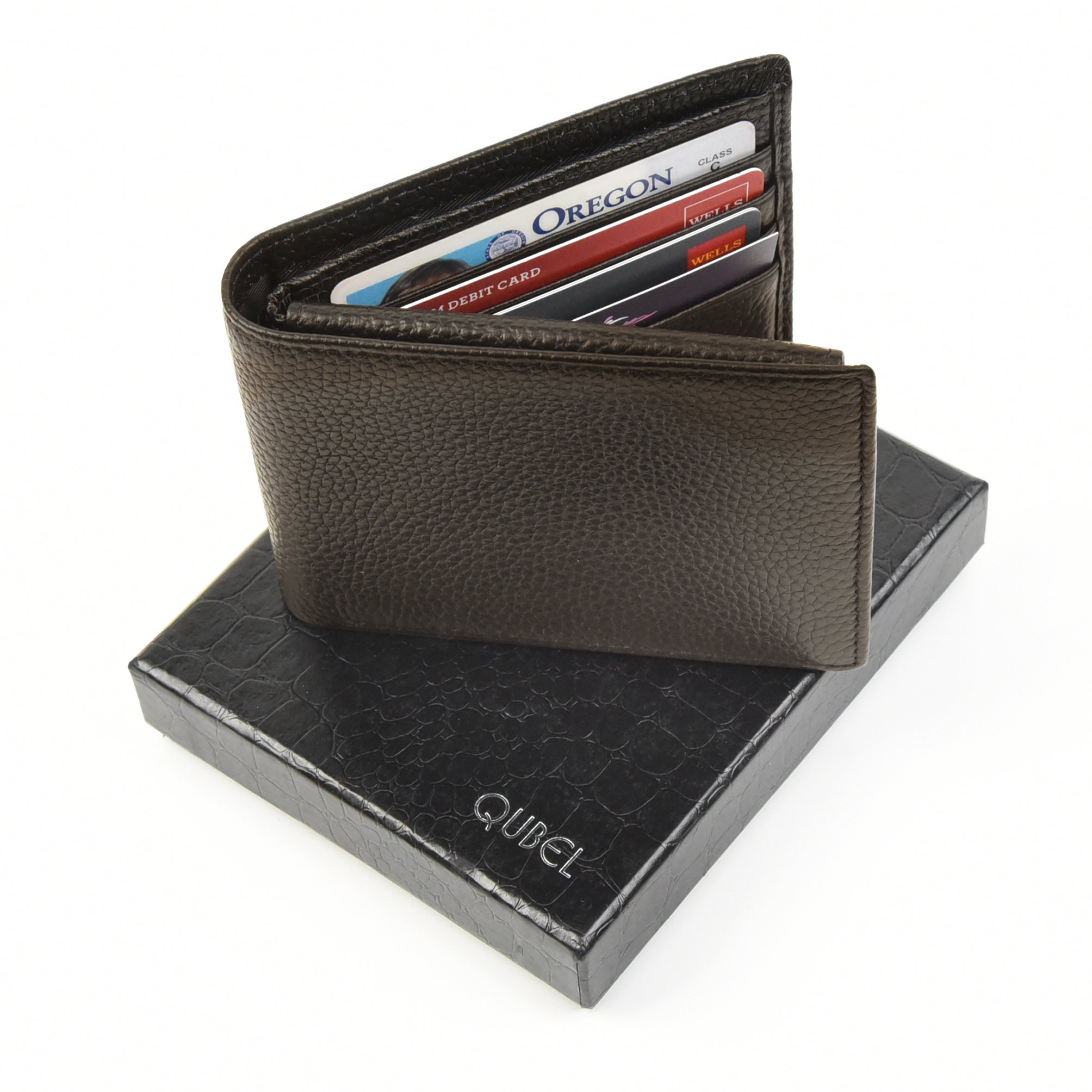 RFID Blocking Slim Bifold Genuine Leather Wallet for Men - Credit Card Protector by Qubel (Image #2)