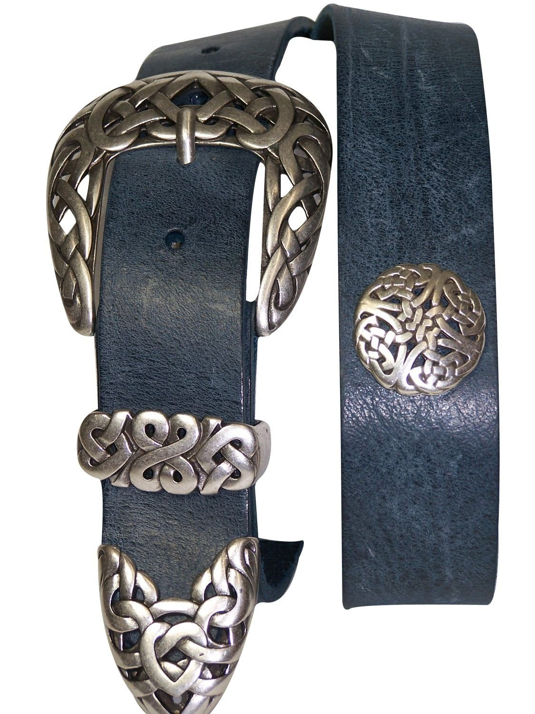 FRONHOFER belt designer floral silver buckle ECO leather summer colors, Size:waist size 41.5 IN XL EU 105 cm, Color:Denim