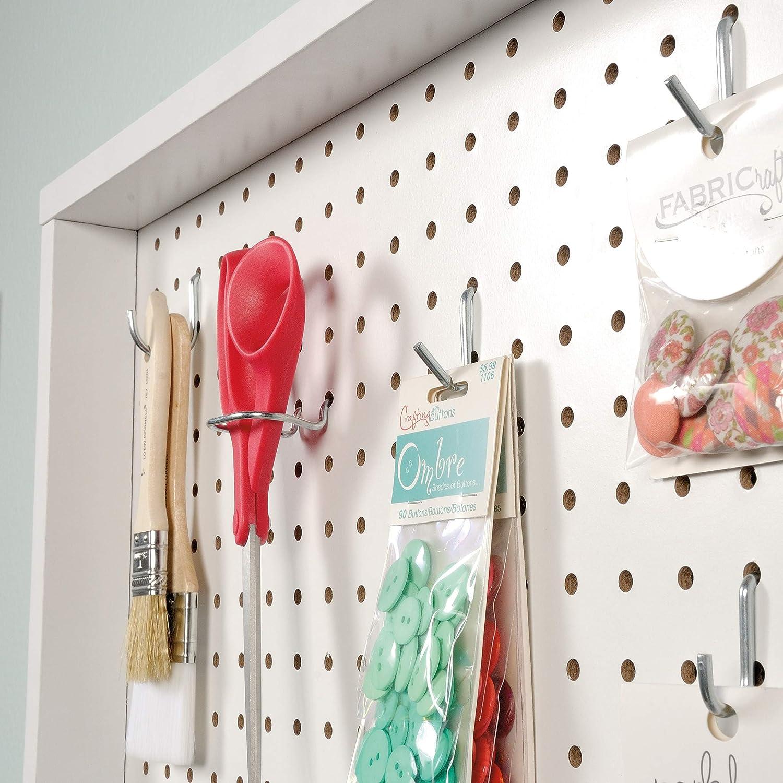 White Finish Sauder 423411 Craft Pro Wall Mount Peg Board with Shelves