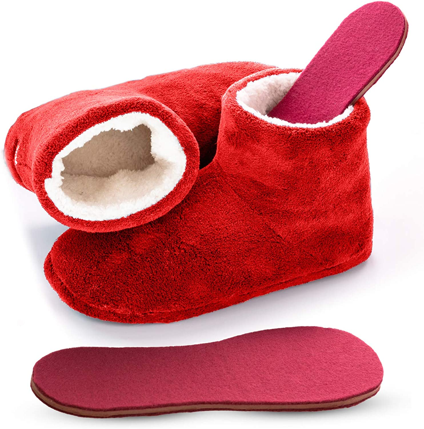 Snook-Ease Microwavable Heated Slippers Feet Warmers Booties with Heated Insole Inserts for Instantly Warm Feet - Reusable Reheatable Washable - Promotes Good Night's Sleep