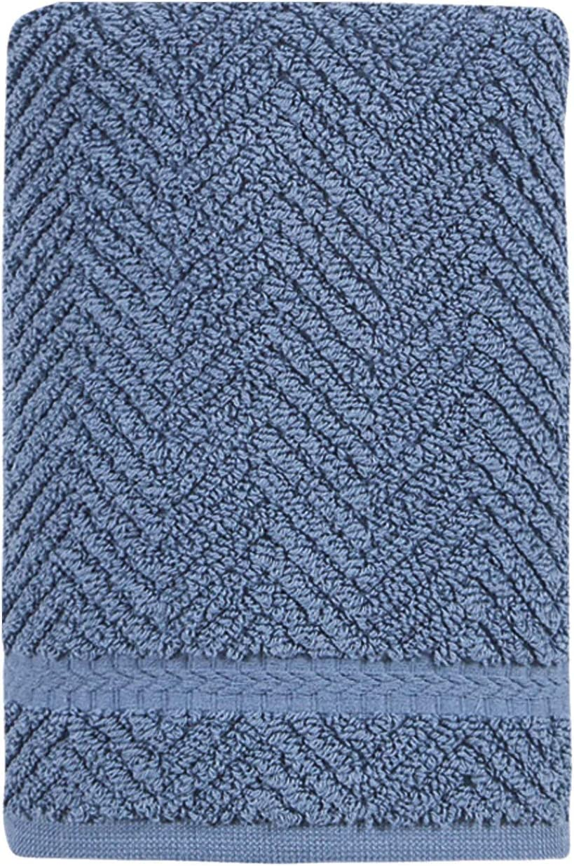 Ozan Premium Home Hand Towels 100% Turkish Cotton Ultra Soft Highly Absorbent Extra Large by 16x30 inches 650 GSM Luxury Hotel - Spa Quality Blue Herringbone Towels for Bathroom (1Ct.)