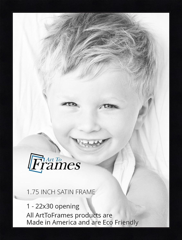 ArtToFrames 22x30 inch Satin Black Flat top w//Step Lip Wood Picture Frame 2WOM20040-22x30