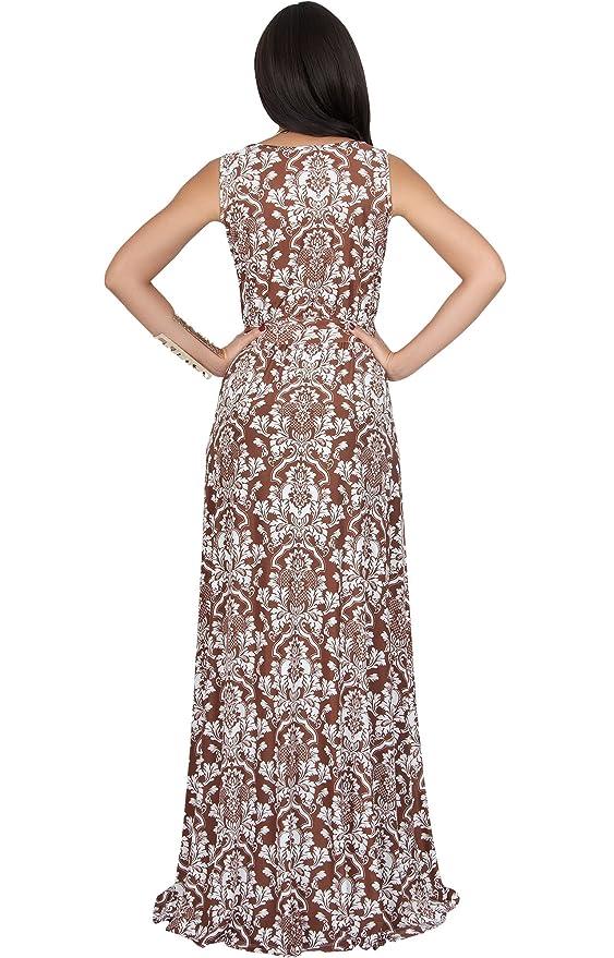 f6d4fa809fa2 KOH KOH Womens Long Sleeveless V-Neck Casual Flowy Cute Summer Print Maxi  Dress at Amazon Women s Clothing store
