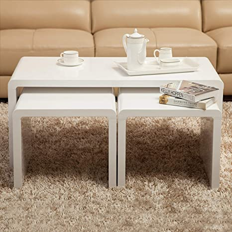 Pleasant Mecor Coffee Table Nest Of Tables White High Gloss Wood Side Onthecornerstone Fun Painted Chair Ideas Images Onthecornerstoneorg