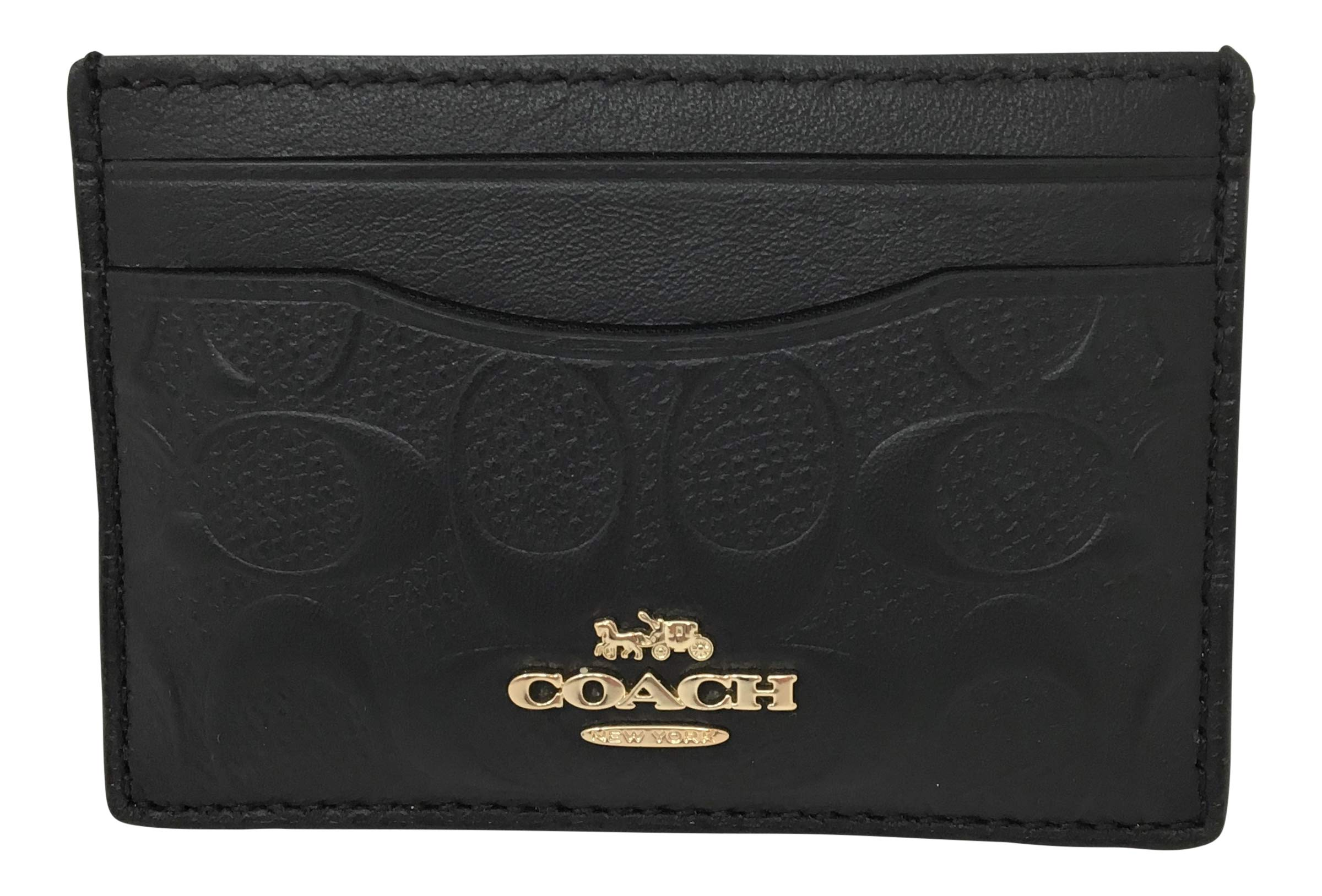 Coach Signature Leather Flat Card Case Black F73601 by Coach