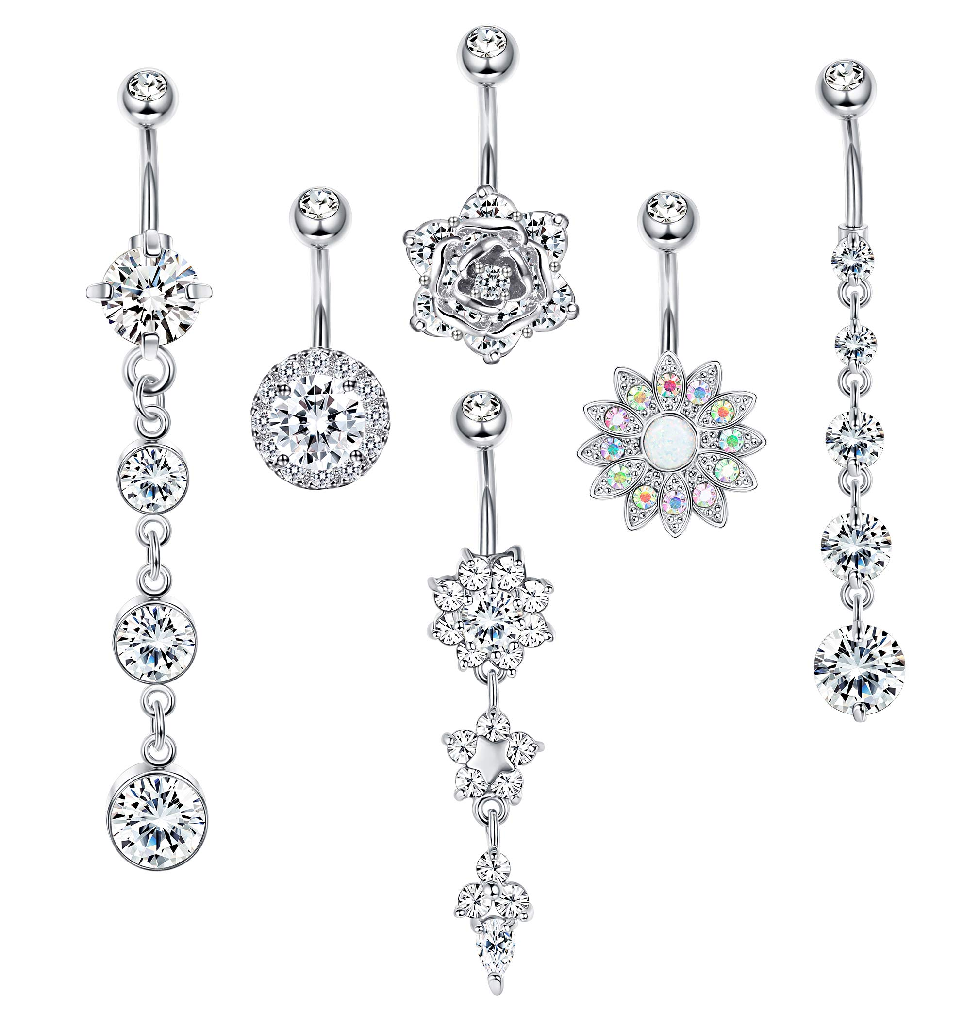 Jstyle 6 Pcs 14G Stainless Steel Belly Button Rings Barbell Navel Rings Bar Women CZ Flower Body Piercing Silver