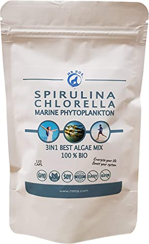 Mr Ros Spirulina, Chlorella Marine Phytoplankton Supplement Vegan Capsules Superfood Powerhouse Rich in Essential Nutrients Minerals Boosts Revitalizes Pack of 120 Algae Capsules