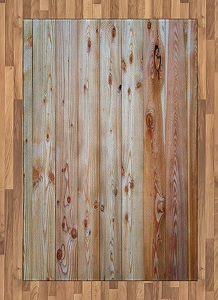 Lunarable Rustic Area Rug Monochrome Wood Design Minimalist Rough Tiled Logs Row Plank Surface