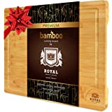 Bamboo Cutting Board w/Juice Groove & Handles - Butcher Block for Chopping Meat & Vegetables - Kitchen Cutting Boards…