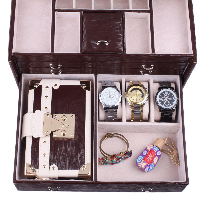 Rowling Large Jewellery Box Watch Bracelets Rings Earring Cufflinks Women Handbag (BROWN) by Rowling (Image #6)