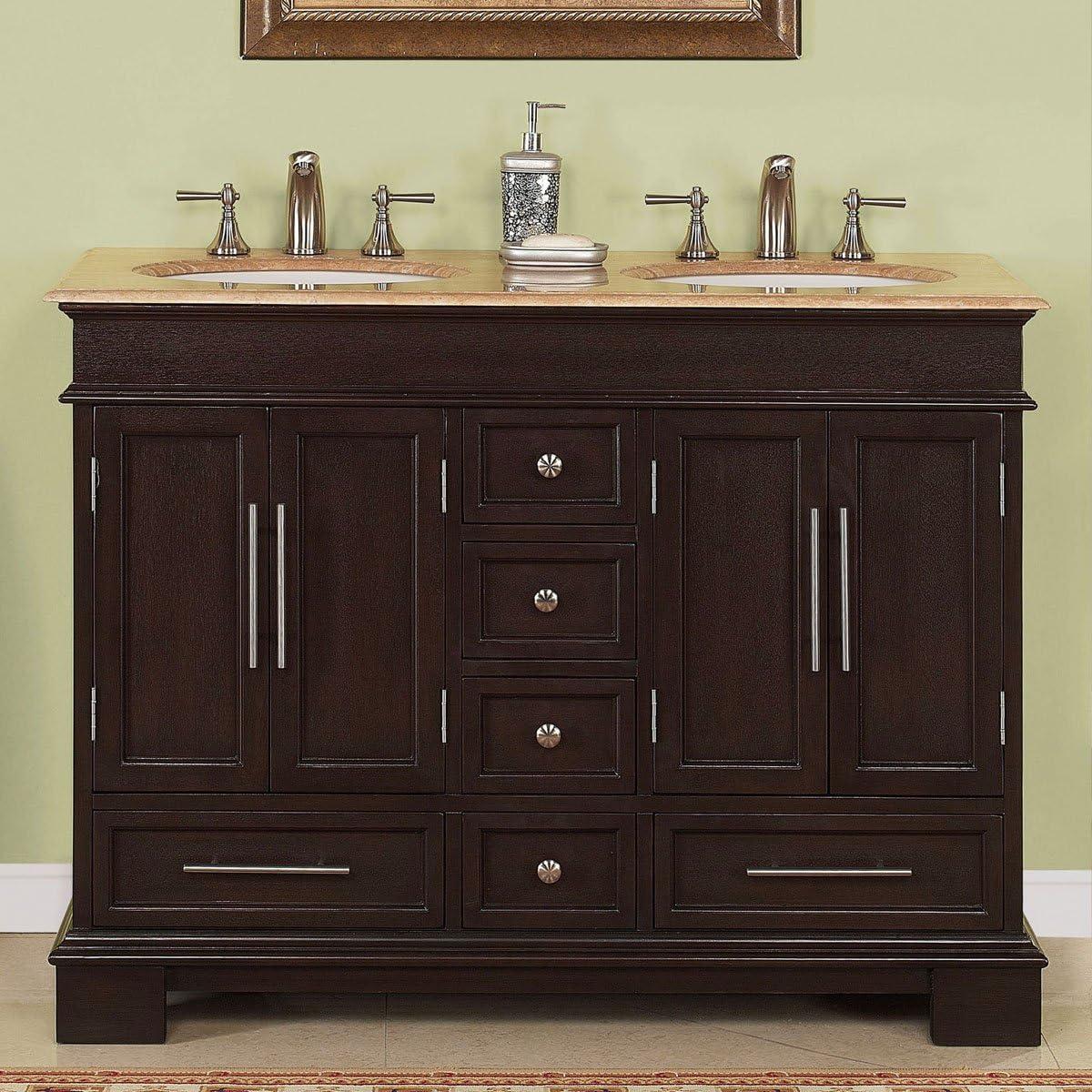 Silkroad Exclusive Countertop Travertine Compact Small Sink Bathroom Vanity with Cabinet, 48 , Dark Wood