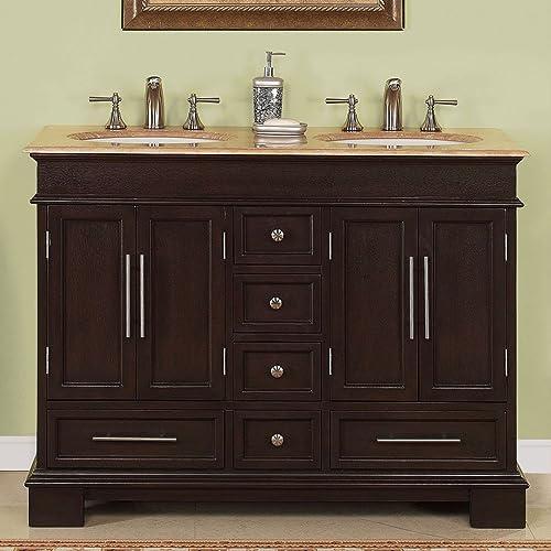 Silkroad Exclusive Countertop Travertine Compact Small Sink Bathroom Vanity