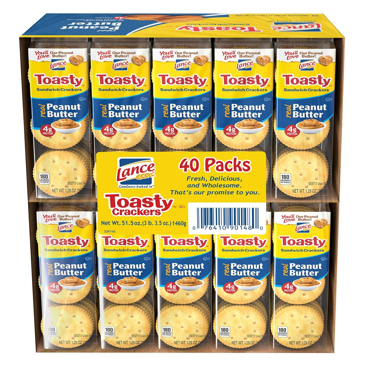 Lance Toasty Peanut Butter Sandwich Crackers (40 ct.) Pack of 2