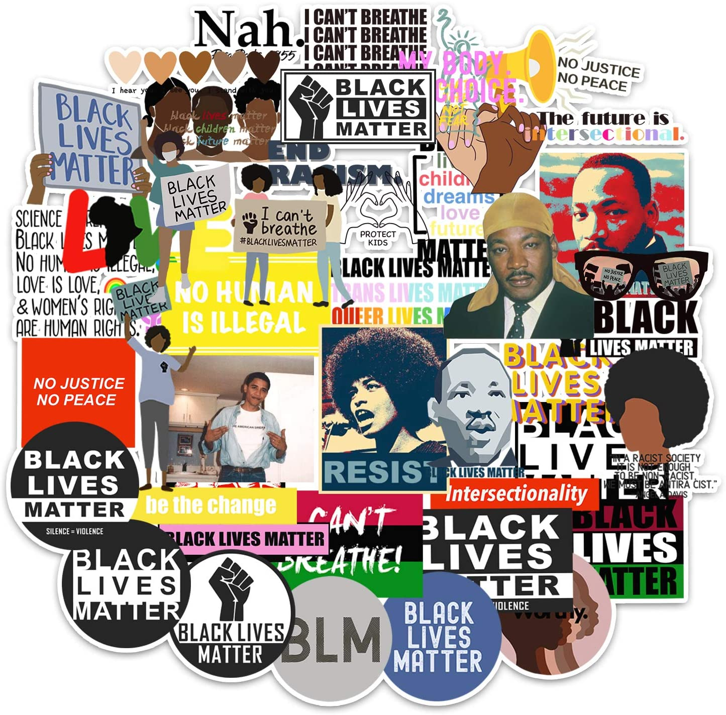 Black Lives Matter Stickers 50 Pcs BLM Peace Protest Decals Vinyl Waterproof Sticker for Water Bottles Laptop Computer Phone Hard hat Car Sticker