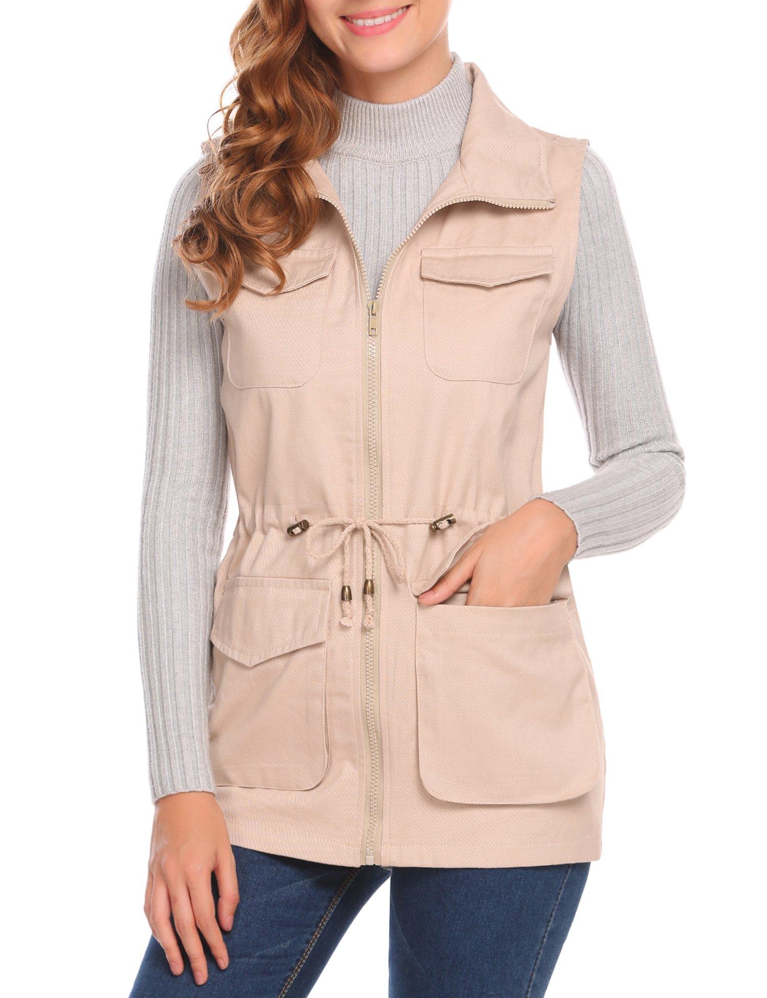 UNibelle Womens Sleeveless Lightweight Military Anorak Vest