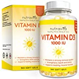 Vitamin D3 1,000 IU 365 Softgels 1 Year Supply Cholecalciferol by Nutravita