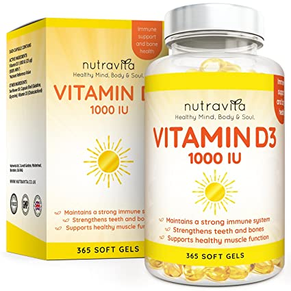 Vitamina D3 1.000 IU, 365 Cápsulas de Gel Suministro Para Un Año, Sólo Una