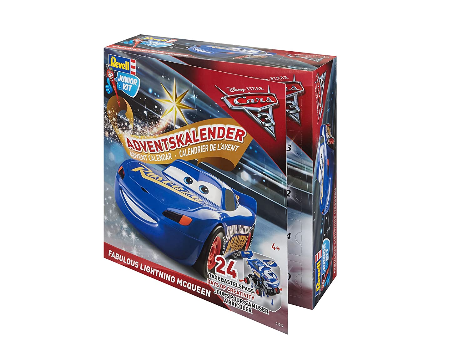 Revell Adventskalender Fabulous Lightning McQueen Junior Kit - Disney Cars 3 - 24 Tage Cooler Bastelspaß für Kinder ab 4 Jahren, Bausatz Zum Schrauben, Basteln und Spielen, robust - 01012 Revell_01012