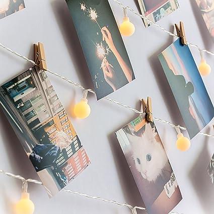 Amazon.com : HAYATA [Remote & Timer] 40 LED Wooden Photo Clip Light ...