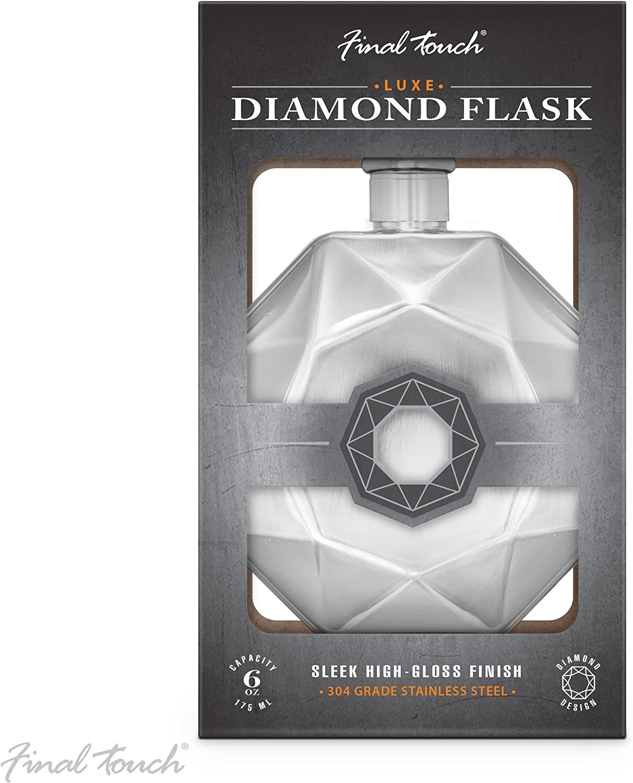 /Qualit/é commerciale en acier inoxydable 304 Silver Touche Finale Luxe Diamant Flasque /él/égant Fini brillant Unisexe Flasque Alcool Format de poche 175/ml 170,1/gram Down Bouchon /à vis/