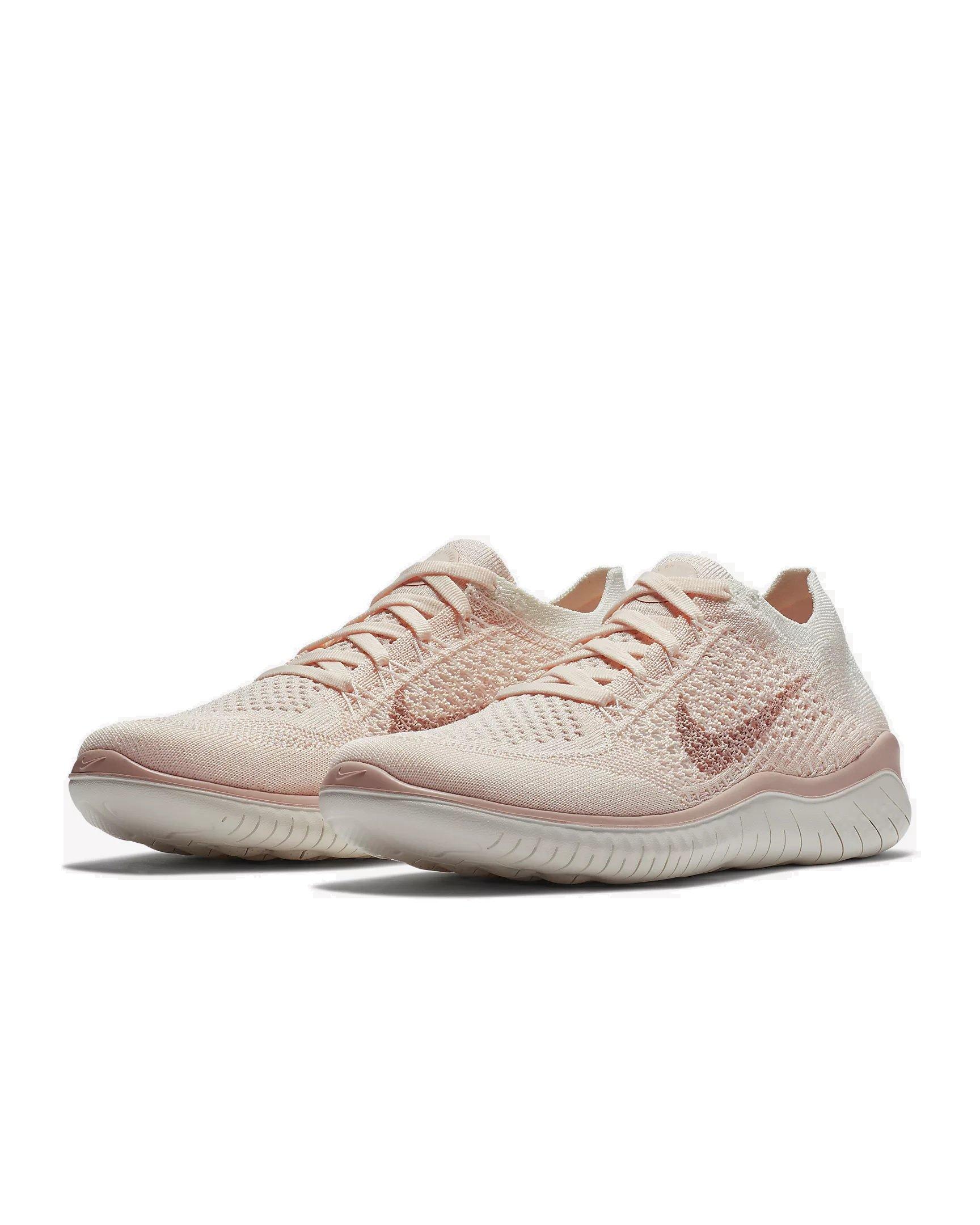 bfc89cdf91c54 Galleon - Nike 942839-802  Womens Free RN Flyknit 2018 Ice Beige Sail Pink  Running Shoes (8.5 B(M) US Women)