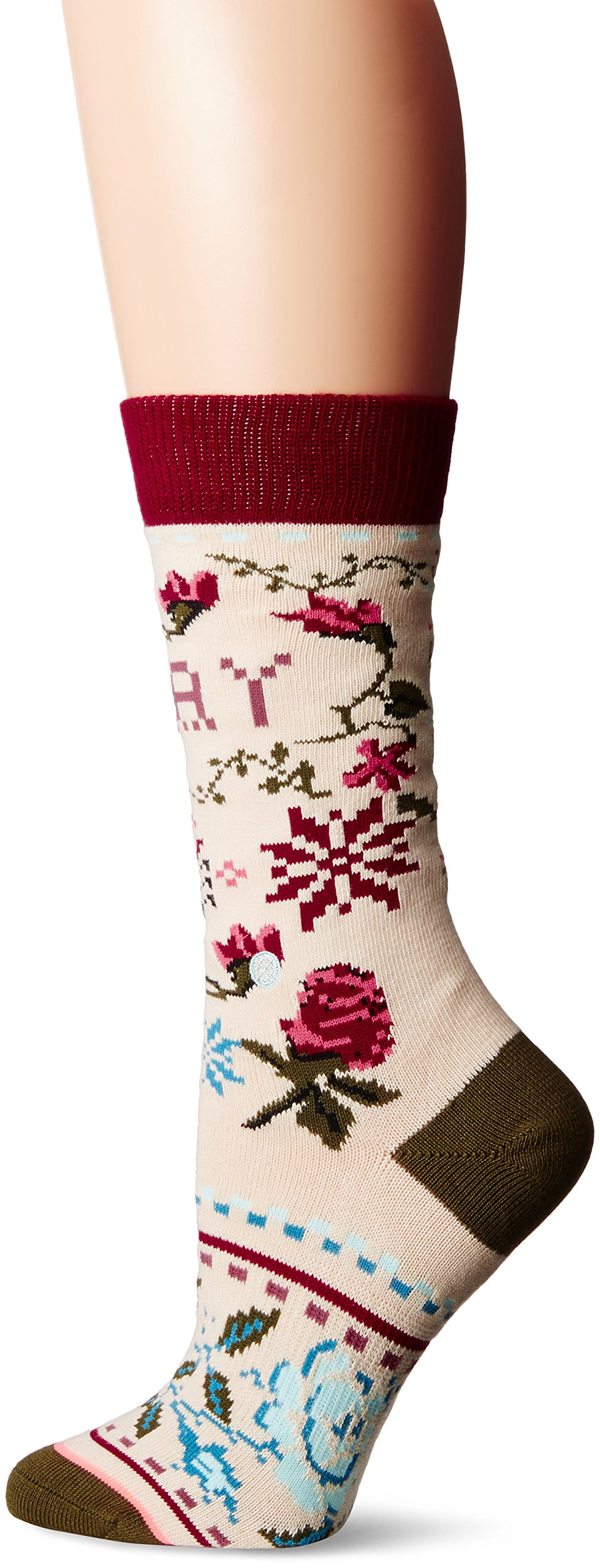 Stance Women's Slay Ride Holiday Arch Support Tomboy Crew Sock, Cream, Medium