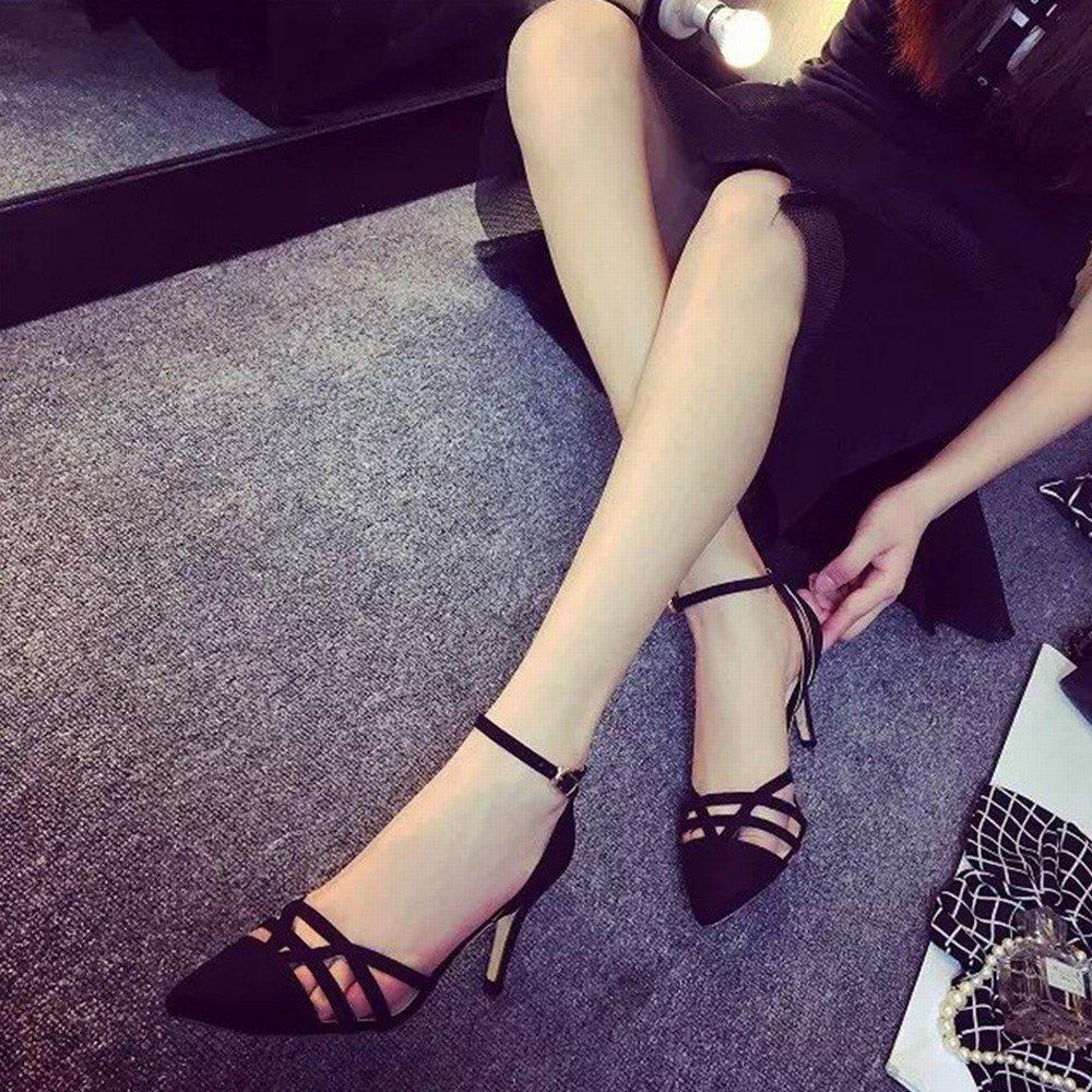 SED High Heels Sandalen Spitze Fein mit Dem Sommer Westlichen Kopfschmuck Kopfschmuck Westlichen Verschluss Hohlen Flachen Mund Rom Mode Schuhe 595c37