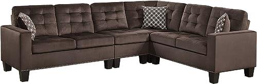 Homelegance Lantana 84 x 107 Fabric Sectional Sofa, Brown