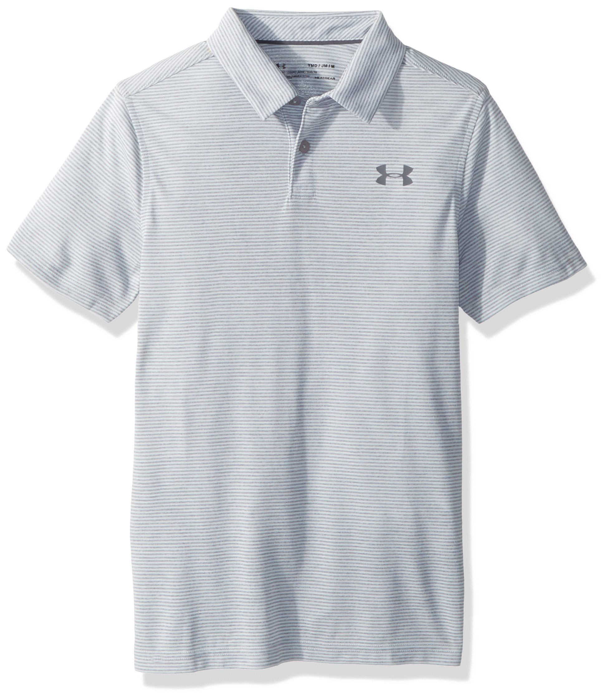 Under Armour Boys' Threadborne Polo, Overcast Gray (941)/Rhino Gray, Youth X-Large by Under Armour