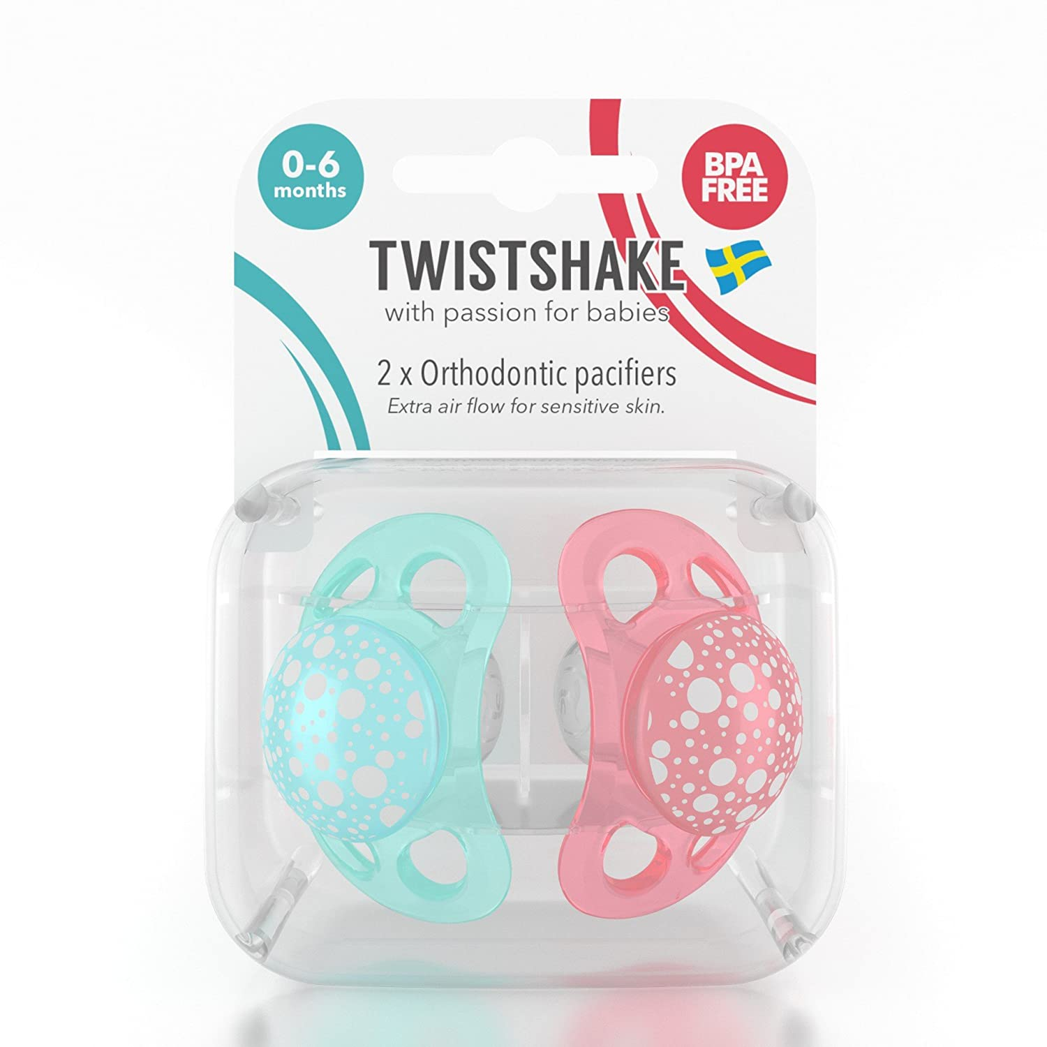 Amazon.com : Twistshake 2X Pacifier Peach Turquoise 0-6m : Baby