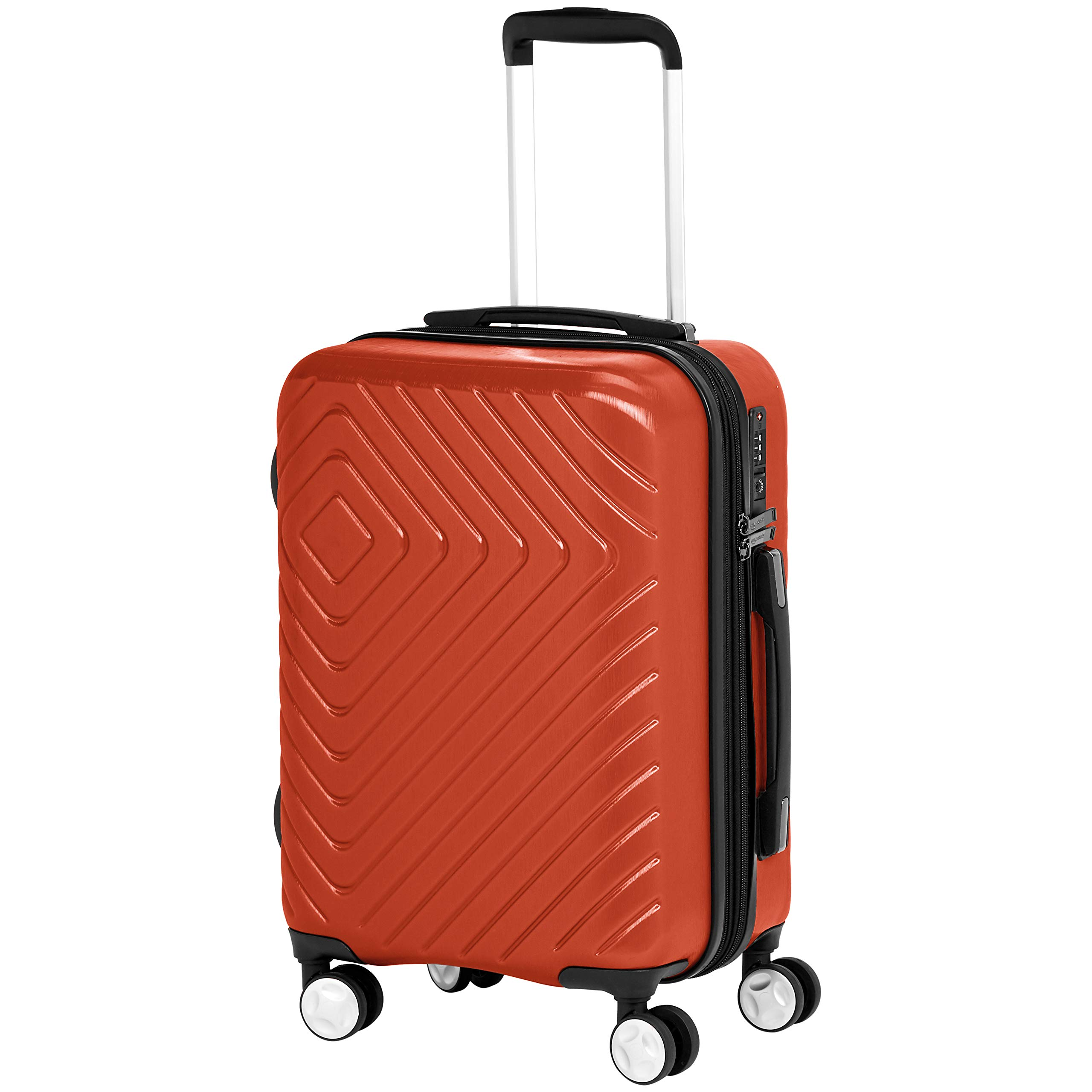 AmazonBasics Geometric Hard Shell Carry-On Rolling Spinner Suitcase Luggage - 20 Inch, Sunset