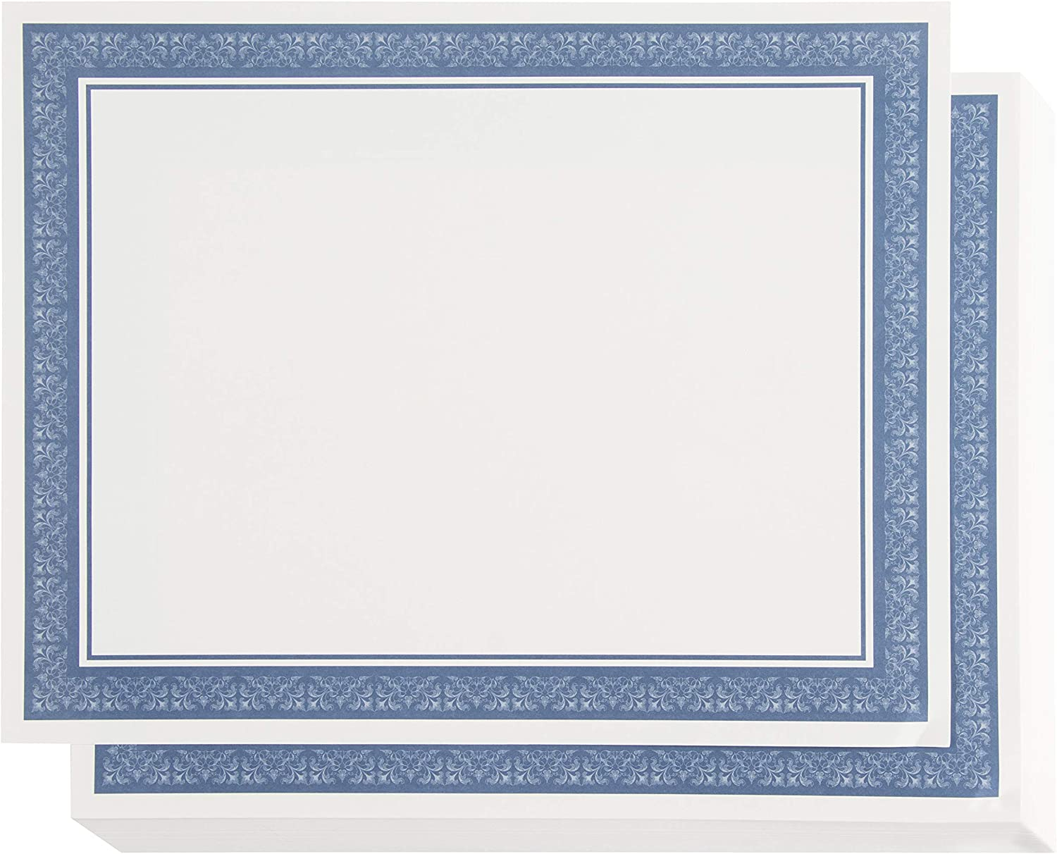 Certificate Paper with Blue Border, Award Certificates (White, 8.5 x 11 in, 50-Pack)