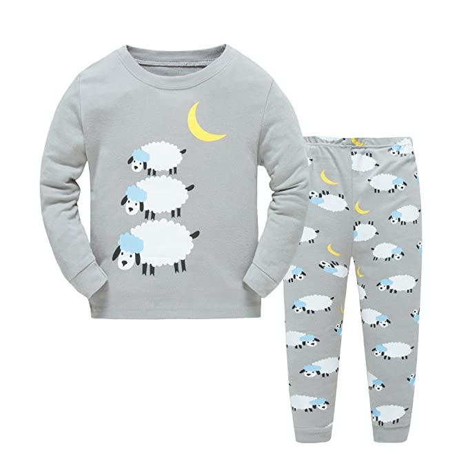 2260c3fc6e Boys Girls Pajamas Toddler Cotton Sleepwear T Shirt Pants Sheep PJS Set For  Kids Size 2